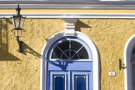 Blue Door And Yellow Wall