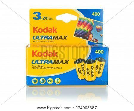 Niedersachsen, Germany December 14, 2018: A Multi-pack Box Of Kodak Ultramax 400 35mm Camera Film On