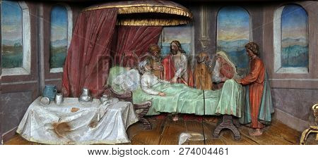 STITAR, CROATIA - NOVEMBER 24: Healing the mother of Peter's wife altarpiece in the church of Saint Matthew in Stitar, Croatia on November 12, 2017.