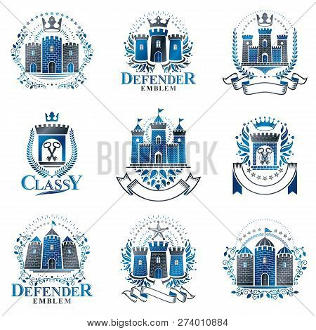 Ancient Bastions Emblems Set. Heraldic Vector Design Elements Collection. Retro Style Label, Heraldr