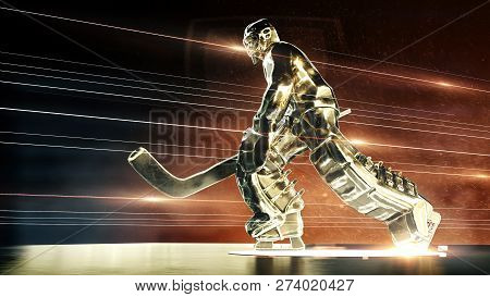 Bronze Sculpture Of Ice Hockey Goalie In Action Pose With Dramatic Light Dust Particles In The Air A