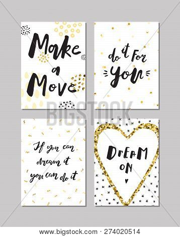 Black Ink, White And Gold Glitter Hand Drawn Doodle Vector Posters. Proverbs And Sayings.