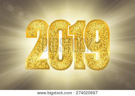 Happy New Year Shiny Gold Number 2019. Golden Glitter Digits On Sun Rays Bokeh Background. Shiny Glo