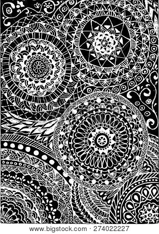 Black And White Coloring. Floral Tattoo Artwork. Indian Style. Doudle Art Floral Composition.