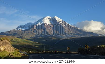 Panoramic View Of The Chimborazo Volcano In A Day With Clear Blue Sky. Chimborazo Is The Highest Mou