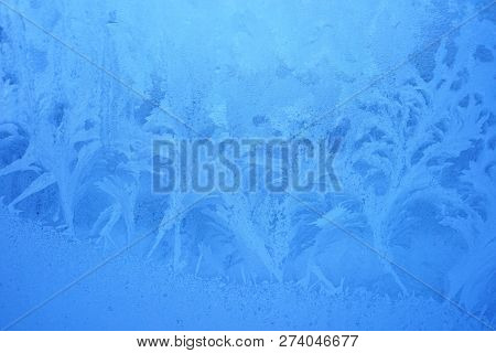 Blue Frost Background, Closeup Frozen Winter Window Pane Coated Shiny Icy Frost Patterns, Extreme No