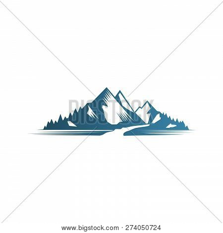 Mountain Logo Vector, Abstract Mountain Logo With Road And River Ilustrations, Vector Illustrations.