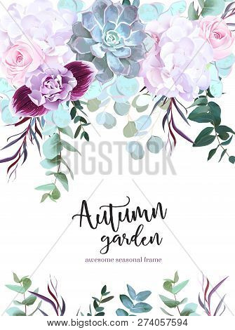 Purple, White And Pink Flowers Vector Design Card. Rose, Carnation, Orchid, Echeveria Succulent, Euc