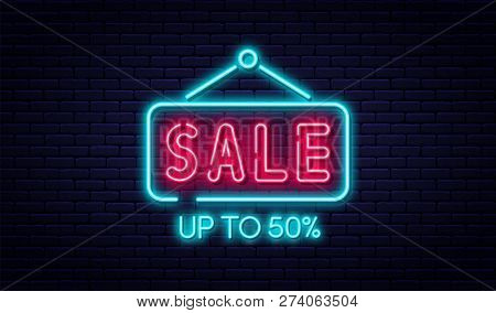 Sale Neon Sign, Sale And Discount Concept. Bright And Glowing Neon Sign For E-commerce, Advertisemen