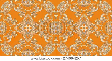 Beautiful Seamless Lace Pattern On Ornge Background. Paper, Wall Paper, Wrapping Design.