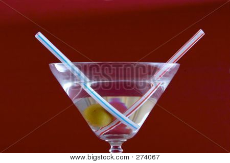 Martini On Red Background