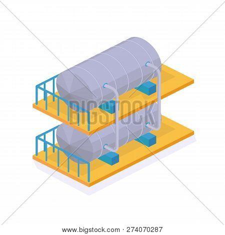 Object Oil Industry. Reservoir, Metal Tanker, Tank. Storage, Transportation.