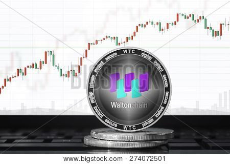 Waltonchain (wtc) Cryptocurrency; Waltonchain Coin On The Background Of The Chart