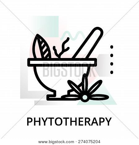 Modern Flat Editable Line Design Vector Illustration, Concept Of Phytotherapy Icon On Abstract Backg