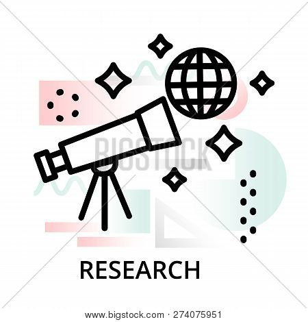 Research Concept Icon On Abstract Background From Science Icons Set, For Graphic And Web Design, Mod