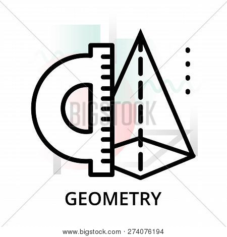 Geometry Concept Icon On Abstract Background From Science Icons Set, For Graphic And Web Design, Mod