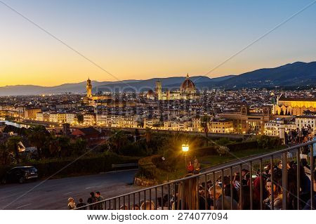 Florence, Italy - September 25, 2018: View Of Florence From Piazzale Michelangelo At Sunset