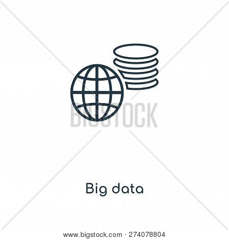 Big Data Icon In Trendy Design Style. Big Data Icon Isolated On White Background. Big Data Vector Ic