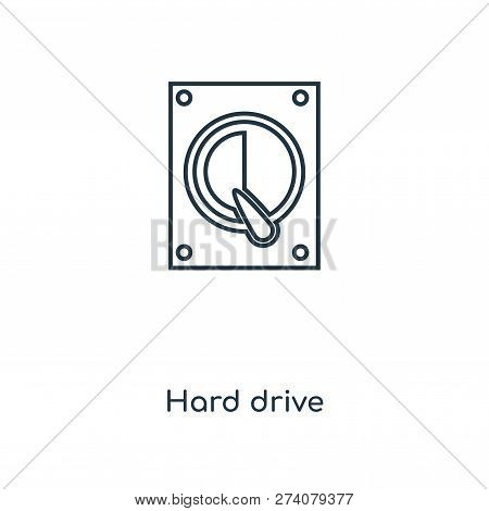 Hard Drive Icon In Trendy Design Style. Hard Drive Icon Isolated On White Background. Hard Drive Vec