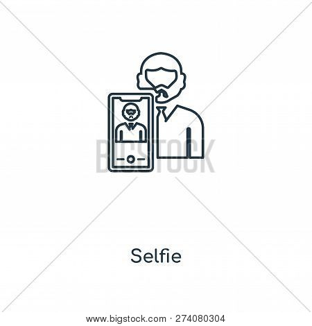 Selfie Icon In Trendy Design Style. Selfie Icon Isolated On White Background. Selfie Vector Icon Sim