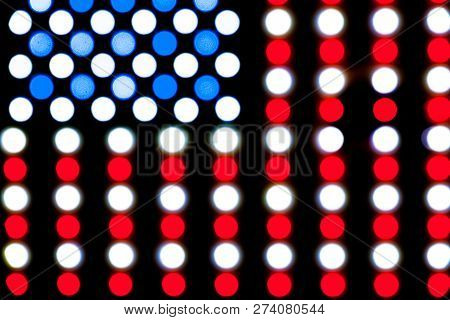 Detail Of Blurred Led Lights Forming A Bright Glowing American Flag