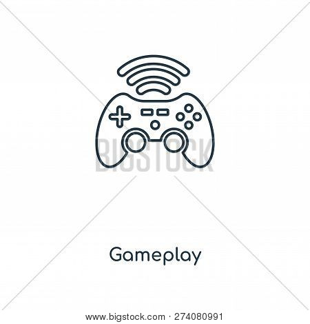 Gameplay Icon In Trendy Design Style. Gameplay Icon Isolated On White Background. Gameplay Vector Ic
