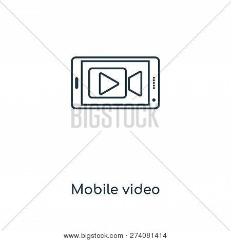 Mobile Video Icon In Trendy Design Style. Mobile Video Icon Isolated On White Background. Mobile Vid