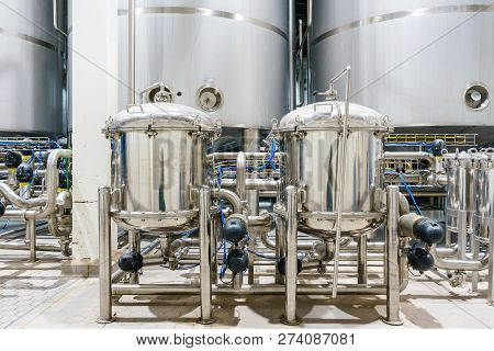 Pharmaceutical Factory Equipment Mixing Tank On Production Line In Pharmacy Industry Manufacture Fac