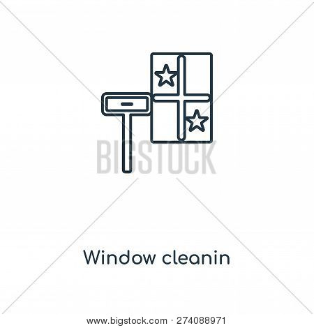 Window Cleanin Icon In Trendy Design Style. Window Cleanin Icon Isolated On White Background. Window