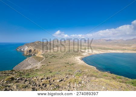 Gata Cape With Amarillos And Genoveses Beaches From Top Of Mountain In Almeria