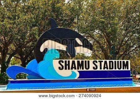 Orlando, Florida. September 09, 2018 Shamu Stadium Sign At Seaworld Theme Park.