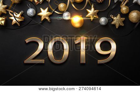 2019 Golden New Year Sign With Golden Glitter On Black Background. Vector New Year Illustration. Hap