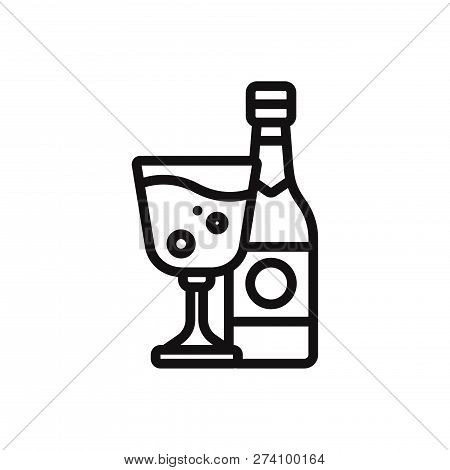 Alcohol And Glass Icon Isolated On White Background. Alcohol And Glass Icon In Trendy Design Style.