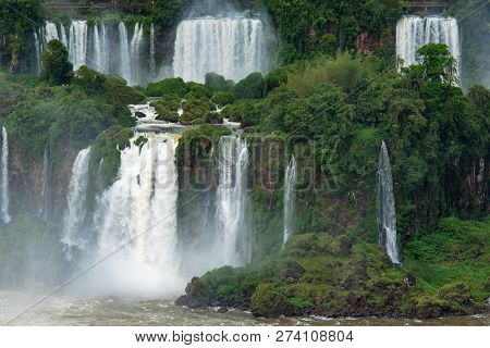 Cascade Of Iguazu Falls, One Of The New Seven Wonders Of Nature, In Brazil And Argentina