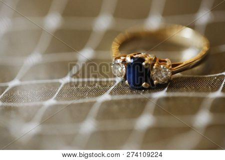 Macro Photo Shooting Sleek Expensive Wedding Ring
