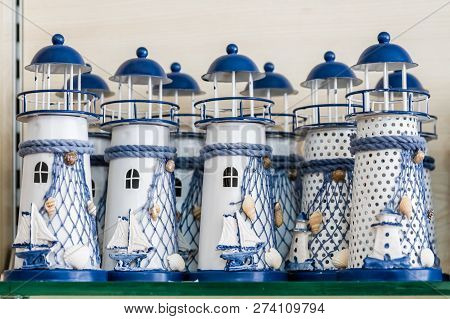 Decorative Lighthouse Lamps In A Gift Shop