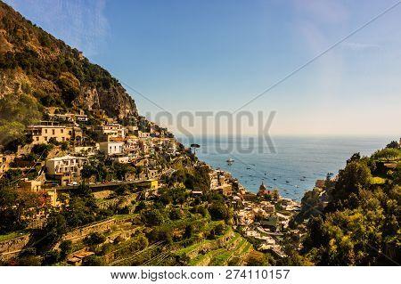 Picturesque Amalfi Coast, Italy.  Old Houses In Amalfi.