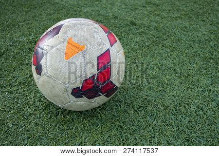 Green Astroturf With White Colorful Soccer Ball European Football