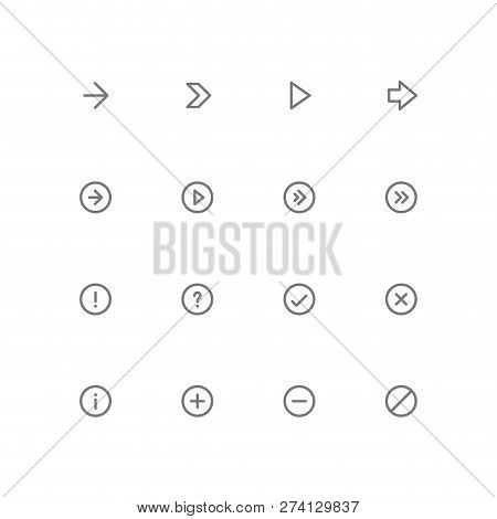Bold Outline Icon Set - Arrows, Exclamation And Question Mark, Tick, Cross, Information, Plus, Minus