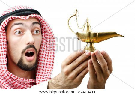 Young arab with lamp