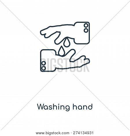 Washing Hand Icon In Trendy Design Style. Washing Hand Icon Isolated On White Background. Washing Ha
