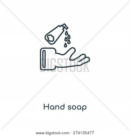 Hand Soap Icon In Trendy Design Style. Hand Soap Icon Isolated On White Background. Hand Soap Vector