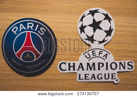 15 December 2018. Nyon Switzerland. The Logo Of The Football Club Paris Saint-germain F.c. And Uefa