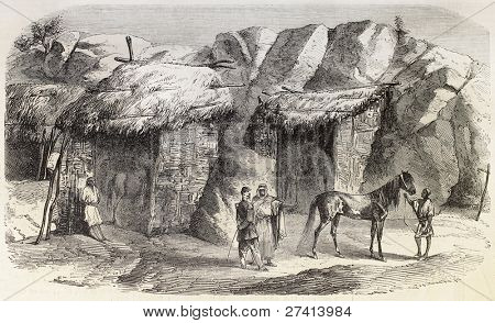 Souk Ahras surroundings, Algeria: northern side of Ain-Guettar stallions stud. Created by Janet-Lange after Lefebvre, published on L'Illustration, Journal Universel, Paris, 1858 poster