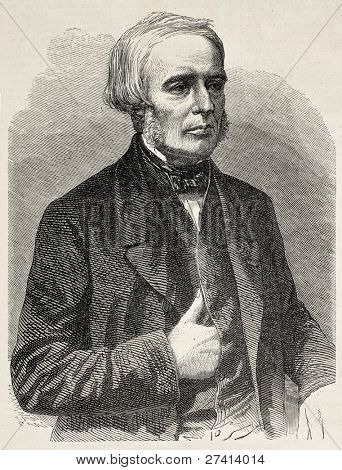 Joseph Gensoul old engraved portrait, French surgeon. Created by Marc, published on L'Illustration, Journal Universel, Paris, 1858