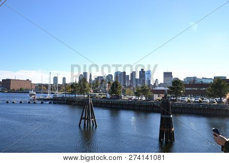 View Of Boston Skyline From A Port Hole In The Uss Constitution (old Iron Side)