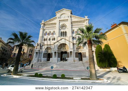 Monaco - November 13, 2018: Cathedral Of Our Lady Immaculate, Also Called St Nicholas Cathedral, In