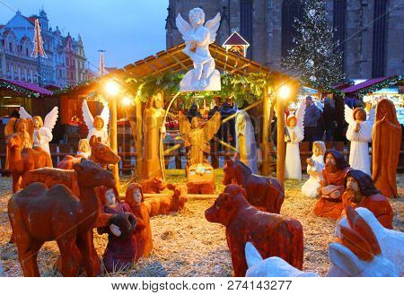 Pilsen / Czech Republic - December 12, 2018: Night shot of Nativity scene  on  Christmas market in the Pilsen. Czech's traditional handicraft with a very long history.