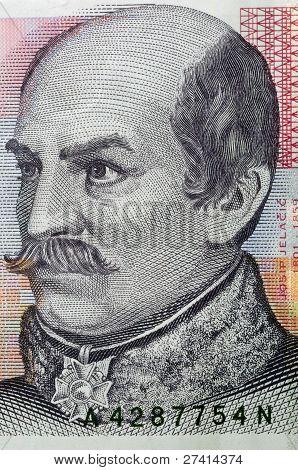 macro portrait of ban Josip Jelacic on 20 kuna croatian banknote poster