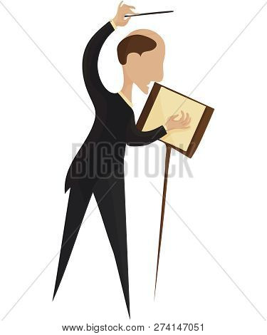 Vector Illustration For Classical Music Performance Or Concert: Orchestra Conductor Isolated. Maestr